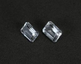 3.6tcw Natural Aquamarine/Goshenite Earring set