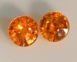 Extreme Mandarin Garnet Pair 4.20mm Jewellery grade gems C10P