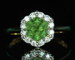 2.02CT DEMANTOID GARNET & DIAMOND 18k GOLD RING $1NR!