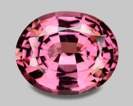 Precision cut natural pink Mahenge rhodolite garnet.