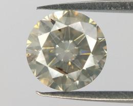 Rare Yellowish Grey Diamond,Round Brilliant Milky Diamond for Jewelry, 0.53