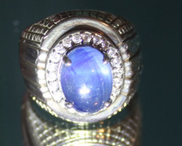 Blue Sapphire 8.50ct Platinum Finish Solid 925 Sterling Silver Ring