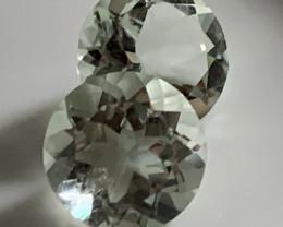 12.00mm Sparkling Round  Cut Green Amethyst Pair  (Prasiolite) -