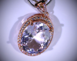 Pink Kunzite 14.00ct Rose Gold Finish Solid 925 Sterling Silver Pendant
