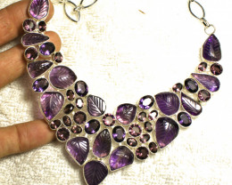 507.0 Tcw. Carved Amethyst Sterling Silver Necklace - Gorgeous