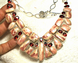 826.5 Rhodochrosite Sterling Silver Necklace - Gorgeous