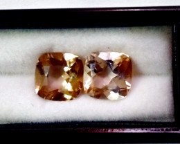 10.10 CT Natural - Unheated Brown Topaz Gemstone Pair