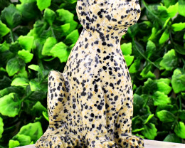 Genuine 1282.00 Cts Dalmatian Jasper Dog
