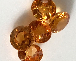 5 BRIGHT FANTA ORANGE SPESSARTITE GARNETS GLITTERING C15P