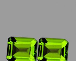 9x7 mm Octagon 2pcs 5.14cts Green Peridot [VVS]