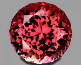 Flawless, custom round brilliant cut natural pink tourmaline.