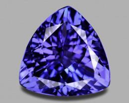 Flawless, custom precision trilliant cut natural blue tanzanite.