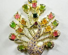 Natural Tourmaline Peacock Pendant