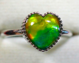 Natural Ammolite 925 Silver Ring