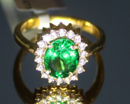 Tsavorite 3.02ct Natural Diamonds Solid 22K Yellow Gold Cocktail Ring