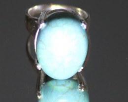 Turquoise 13.48ct Platinum Finish Solid 925 Sterling Silver Solitaire Ring,