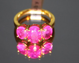 Ruby 5.63ct Solid 22K Yellow Gold Mulit-Stone Ring Natural Untreated Size 8