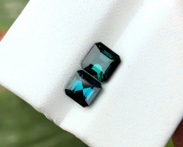 1.80 Ct Natural Dark Green &  Blue Tourmaline Gemstones Paris