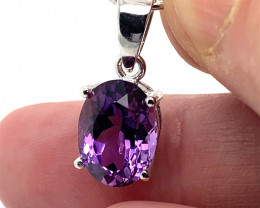 Amethyst 4.80ct Platinum Finish Solid 925 Sterling Silver Pendant, February