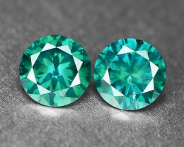 0.37 Cts 2Pcs Sparkling Rare Fancy  Green Color Natural Loose Diamond