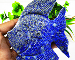 Genuine 1540.00 Cts Blue Lapis Lazuli Carved Fish