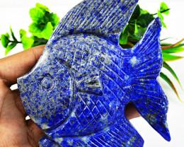Genuine 1540.00 Cts Blue Lapis Lazuli Carved Fish