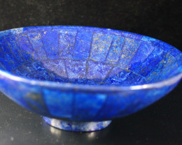 1588 CT Unheated ~ Natural Blue  color Lapis Carved Bowl Special Shape
