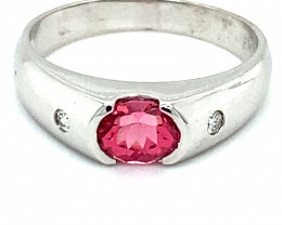 Red Mahenge Spinel 1.01ct Natural Diamonds Solid 18K White Gold Ring Size 7