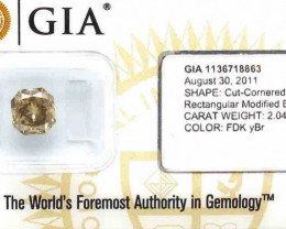 2.04ct Natural Fancy Dark Yellowish Brown  Diamond GIA certified