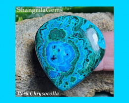 33mm Chrysocolla Malachite cabochon heart VIDEO 33 by 31 by 5mm 50ct from P