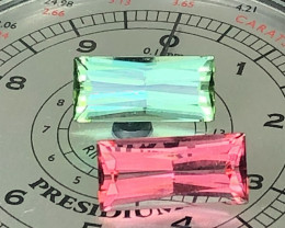9.27CT HOT PINK & MINT GREEN PRECISION CUT AFGHAN TOURMALINE PAIR