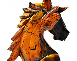 Genuine 1945.00 Cts Golden Tiger Eye Horse Head