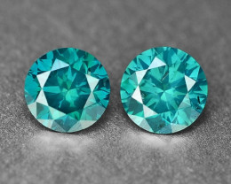 0.61 Cts 2pcs Sparkling Rare Fancy  Green Color Natural Loose Diamond