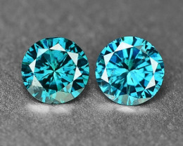 0.38 Cts 2pcs Sparkling Rare Fancy  Green Color Natural Loose Diamond