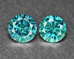 0.40 Cts 2pcs Sparkling Rare Fancy  Green Color Natural Loose Diamond