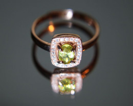 Sphene 1.05ct Rose Gold Finish Solid 925 Sterling Silver Ring