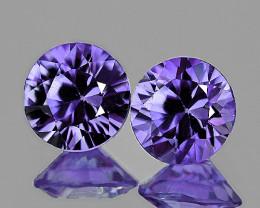 3.50 mm Round 2 pcs Unheated Violet Blue Sapphire [VVS]