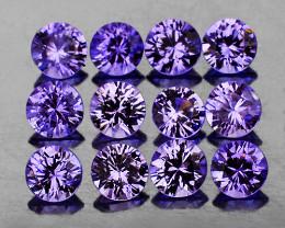 2.60 mm Round 12 pcs 1.04cts Unheated Violet Blue Sapphire [VVS]