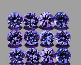 2.50 mm Round 12 pcs 1.07cts Unheated Blue Sapphire [VVS]