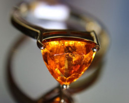 Mandarin Spessartine 4.01ct Solid 18K Yellow Gold Solitaire Ring