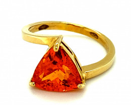 Mandarin Spessartine 4.01ct Solid 18K Yellow Gold Solitaire Ring