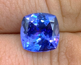 6.18 ct AAA Tanzanite - Loupe Clean - Square Cushion