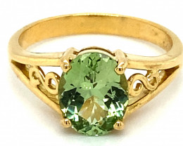 Merelani Mint Garnet 1.74ct Solid 18K Yellow Gold Solitaire Ring