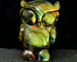 Genuine 1215.00 Cts Golden Flash Labradorite Owl