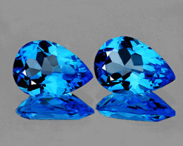 10x7 mm Pear 2 pieces 4.01cts Swiss Blue Topaz [VVS]