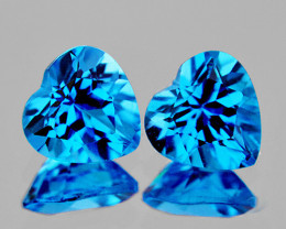 7.00 mm Heart 2 pcs 3.35cts Swiss Blue Topaz [VVS]
