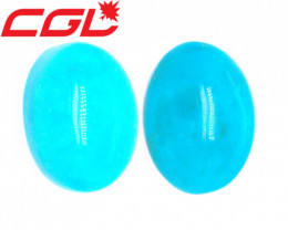 CGL-GRS Cert 35.98 CT Unheated Persian Greenish Blue Turquoise Pair | 2,450