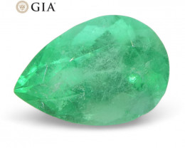 1.37 ct Pear Emerald GIA Certified Colombian F1/Minor