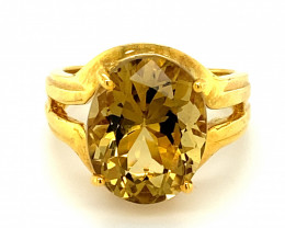 Congo Citrine 6.80ct Solid 18K Yellow Gold Solitaire Ring Ring Size 7