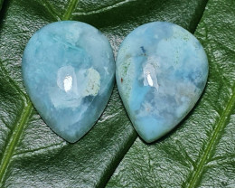 20mm 26ct pair blue green chalcedony chrysoprase cabochon 20 by 15 by 6.45m